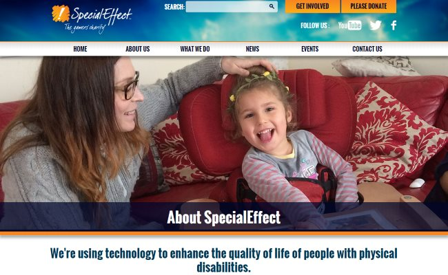 Screenshot of the SpecialEffect website