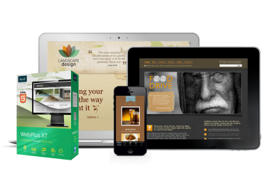 Free Serif WebPlus X7 box with devices showing websites