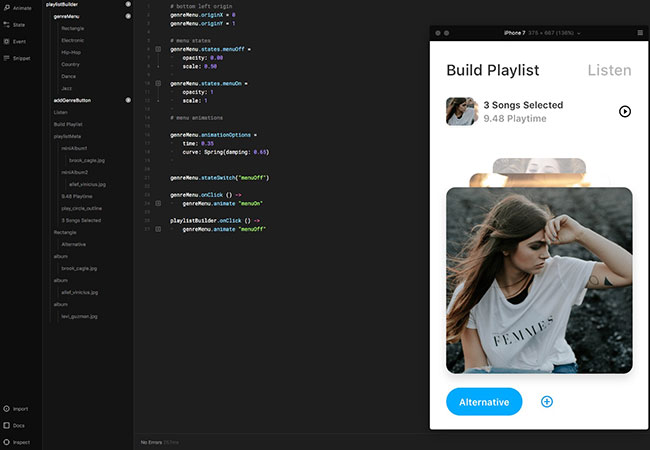 Prototyping with code inside of Framer