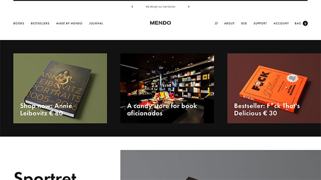 Screenshot of the Mendo website, made with WordPress