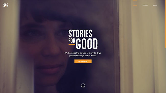 Screenshot of the Stories for Good website, made with WordPress