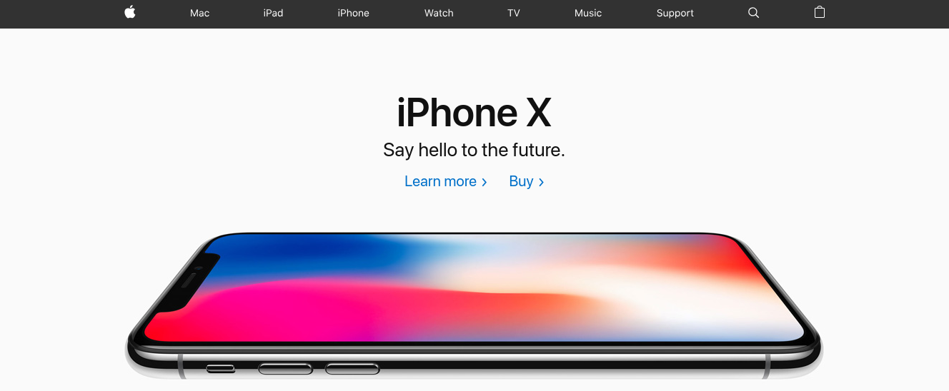 The Apple iphone X product page