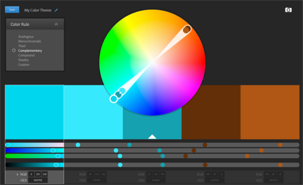 Screenshot of Adobe Colour CC