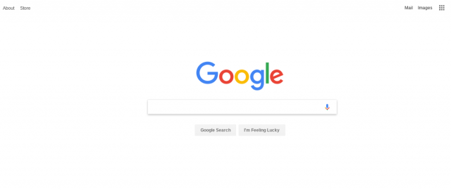 White space on the Google homepage