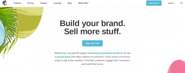 An example of white space on the mail chimp page