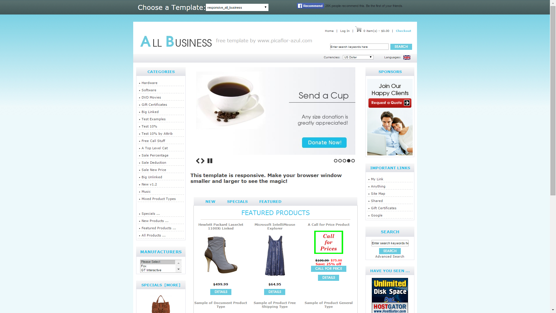 25 of the best free e commerce templates heart internet blog screenshot of all business e commerce template for zencart cheaphphosting Images