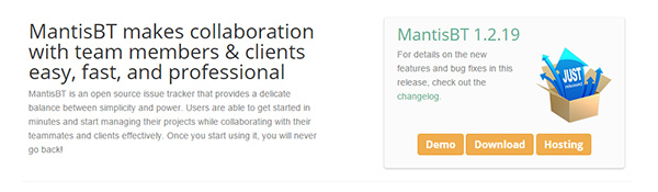 Screenshot of the MantisBT Home Page