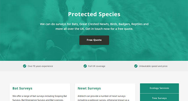 Arbtech's page on Protected Species Surveys