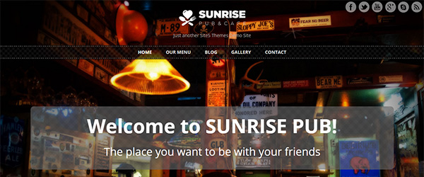 Screenshot of the Sunrise template
