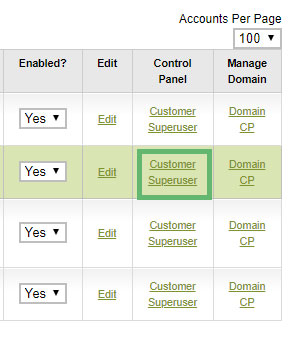 The Customer and Superuser Control Panel links in Manage Hosting Accounts indicated by a square in the Reseller Control Centre