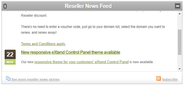 The Reseller News Feed in the Reseller Control Centre