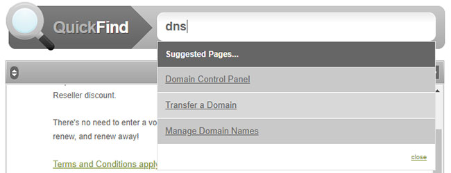 Using the Quickfind in the Reseller Control Centre to search for DNS