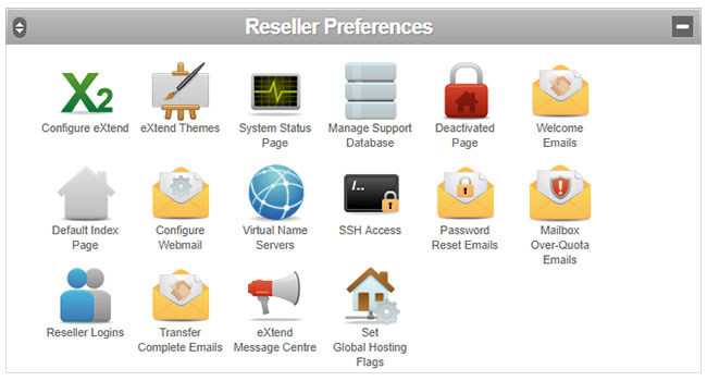 The Reseller Preferences panel in the Reseller Control Centre