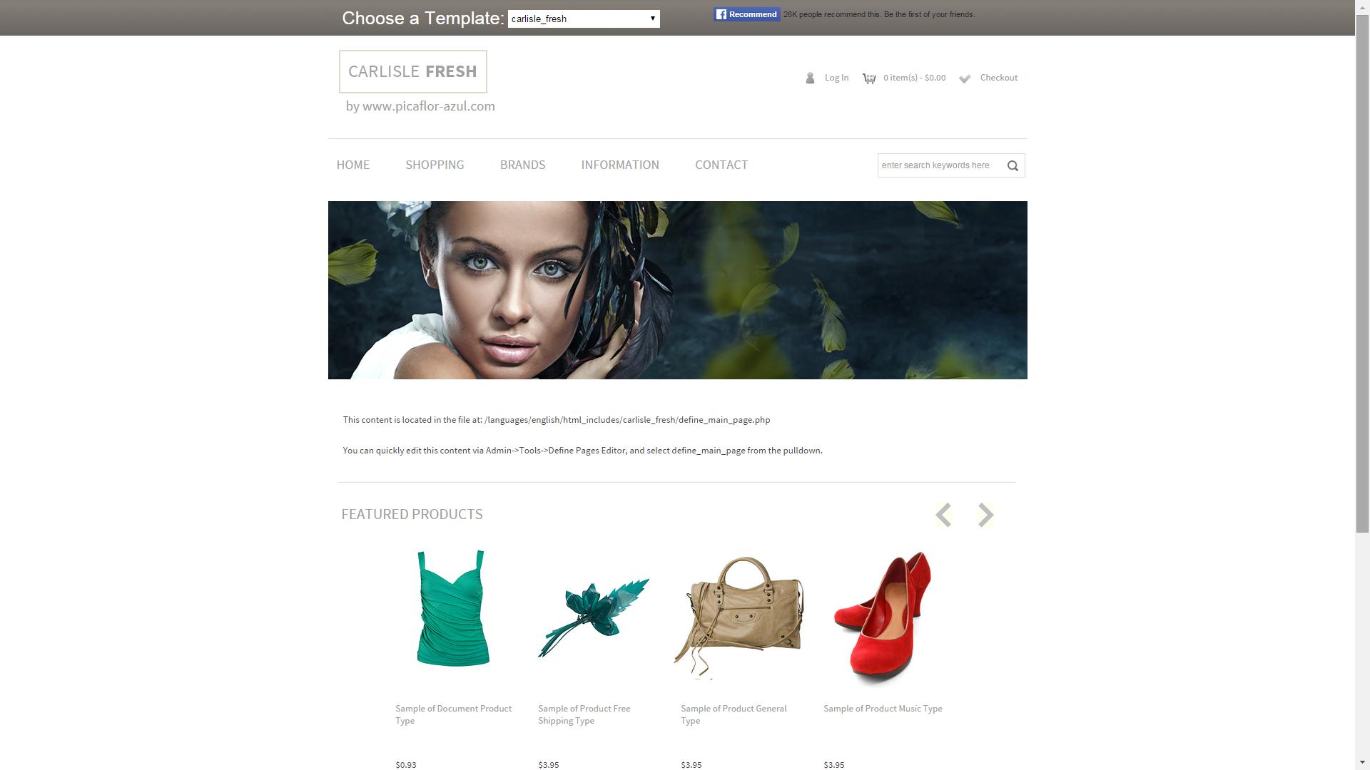 Screenshot of Carlisle Fresh e-commerce template for ZenCart