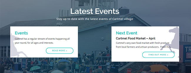 Screenshot of the Latest Events section on the Cartmel Village home page