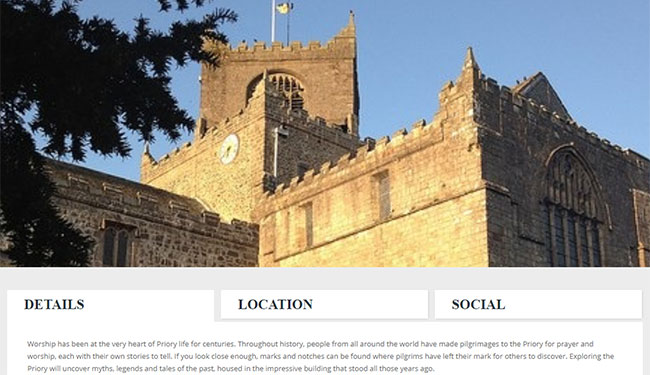 Screenshot of the Cartmel Priory page on the Cartmel Village website