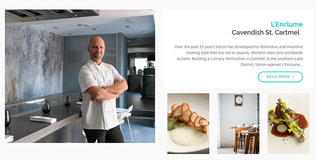 Screenshot of the L'Enclume page on the Cartmel Village website