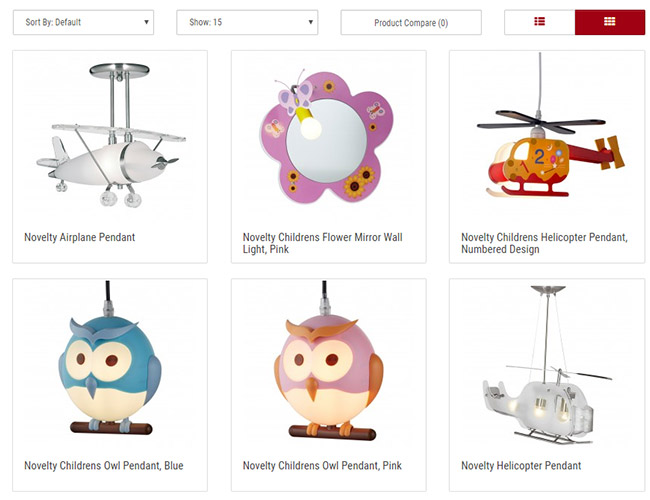 The Children's Novelty Lighting section in the CEP e-commerce store