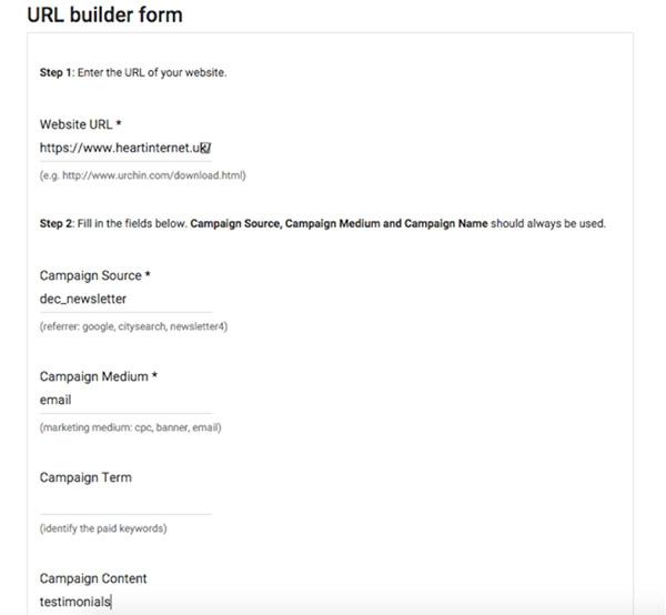 Screenshot of Google's URL builder