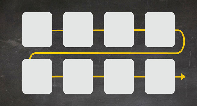 The flow of boxes using Flexbox in rows