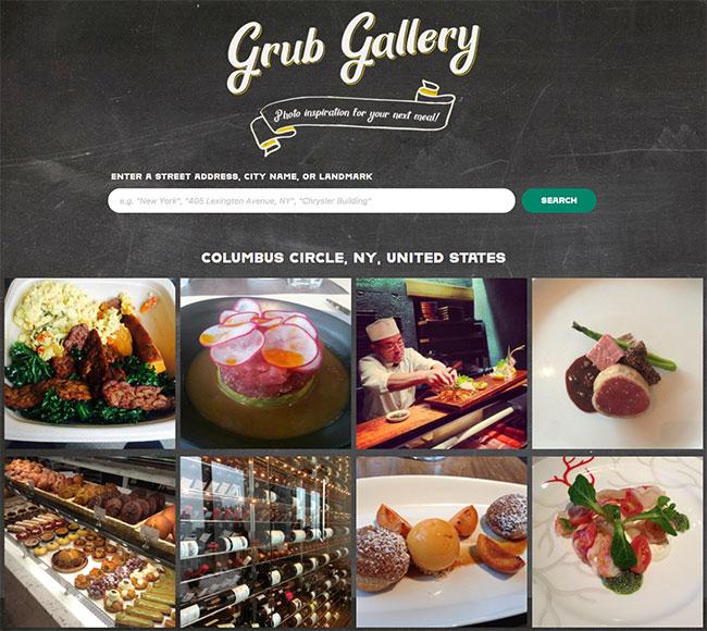 Screenshot of Grub Gallery, a site designed by Brenda Storer