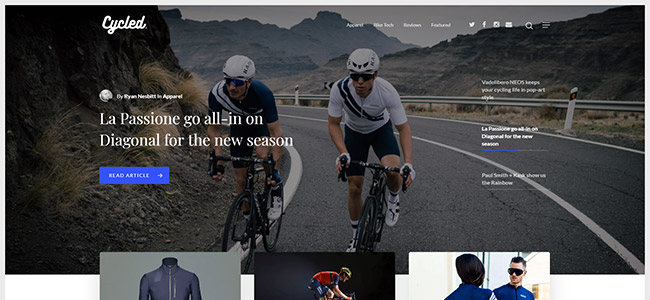 Screenshot of the Cycled home page