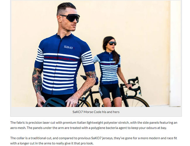 Screenshot of an article on apparel on the Cycled website