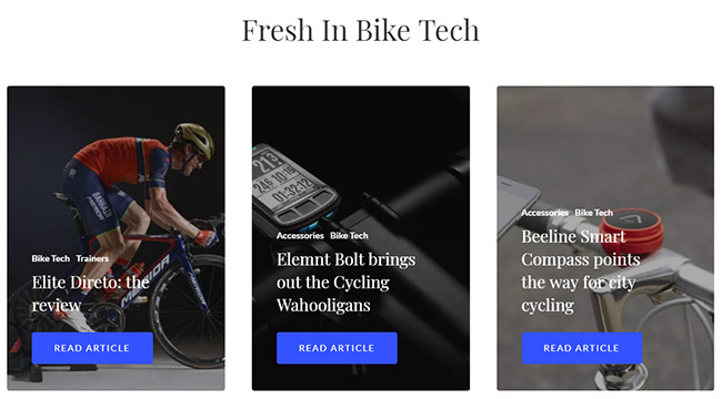 Screenshot of the Fresh in Bike Tech section of Cycled