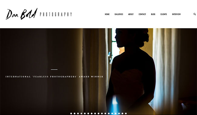 Screenshot of the front page of Dan Bold Photography
