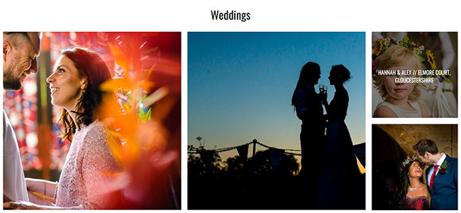 Screenshot of the Weddings section of Dan Bold Photography