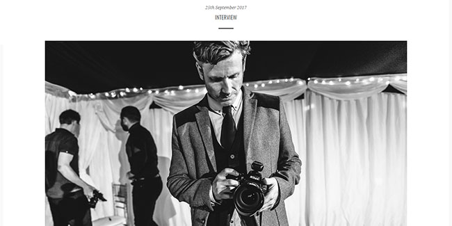 Screenshot of the Interview page of Dan Bold Photography