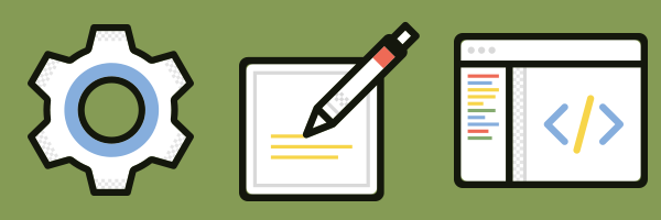 Icons of a gear, a pen composing on a sheet of paper, and a code window