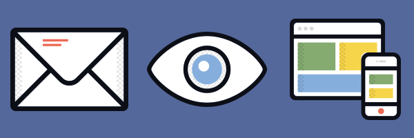 Icons of an envelope, an eye, and a desktop and a mobile device