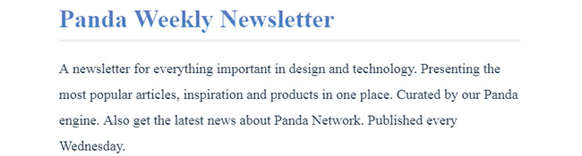 Panda Weekly Newsletter