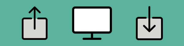 Icons of an upload, a monitor, and a download