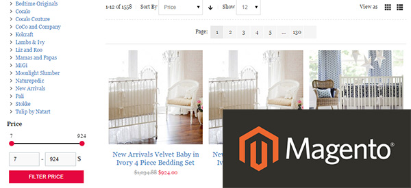 Screenshot of a Magento-powered shop with the Magento logo on top