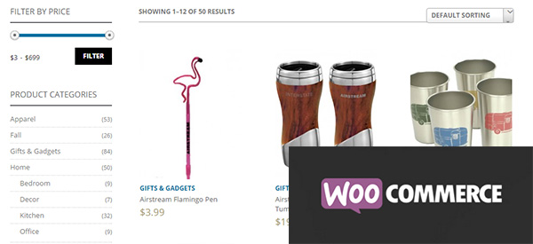 Screenshot of a WooCommerce-powered shop with the WooCommerce logo on top
