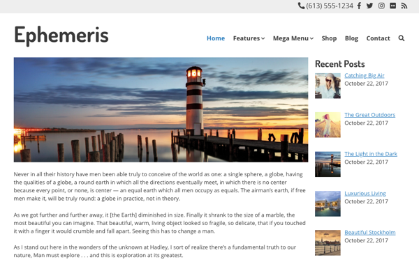 ephemeris wordpress theme example