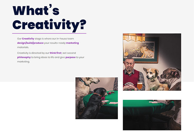 Screenshot of the Epix Media Creativity page