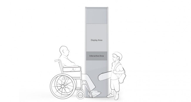 An illustration of a person in a wheelchair and a child next to an interactive kiosk, where the display area is higher than both their heads