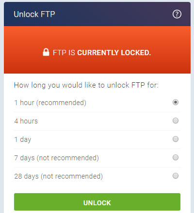 A screenshot of the FTP Locked section of the new eXtend Control Panel theme