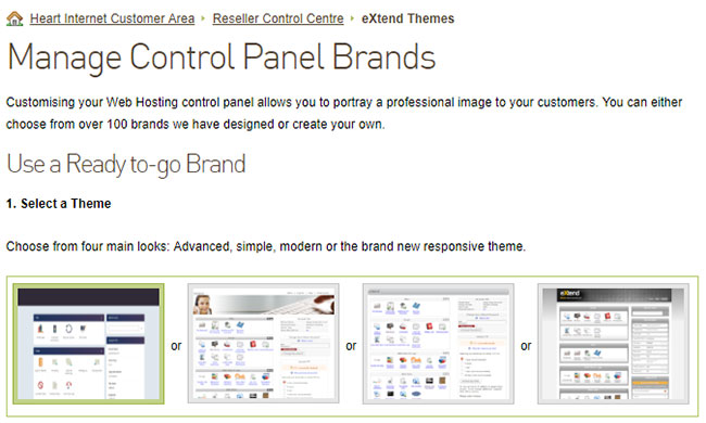 Screenshot of the Manage Control Panel Brands page in the Reseller Control Centre