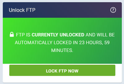 A screenshot of the Unlocked FTP section on the new eXtend Control Panel theme