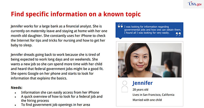 An example of one of the personas used on USA.gov - a woman named Jennifer who is looking for federal jobs