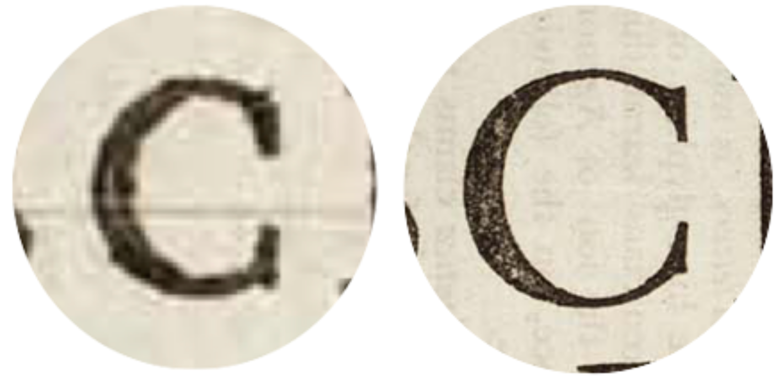 Image showing the difference in physical stroke weight between 6pt and 72pt Garamond from the early 18th century