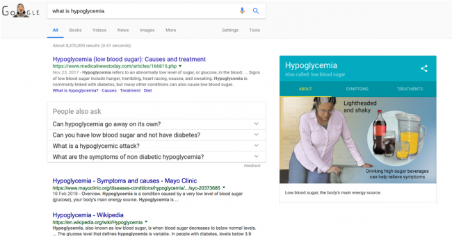 An example of a Google search result for the term what is hypoglycemia