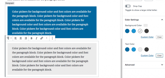An example of custom colour pickers in gutenberg