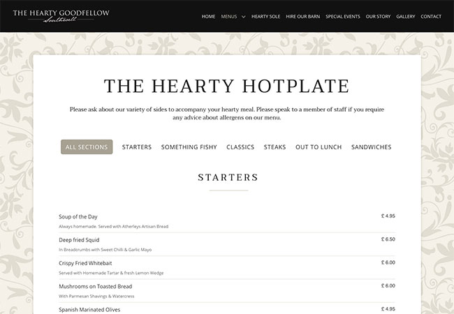 The Hearty Goodfellow menu page
