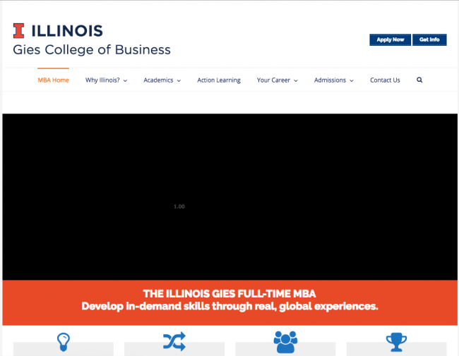 A screenshot showing the university of illinois' hero video not loading