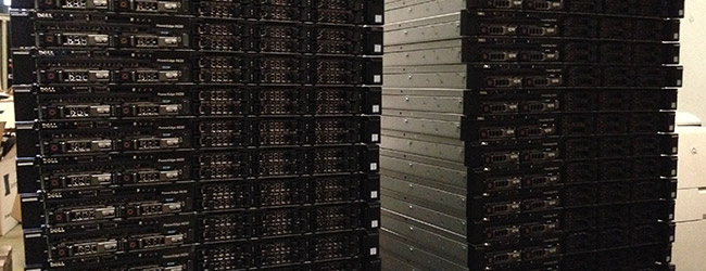 Stacks of servers waiting to be put in place
